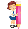 Girl with pencil vector image vector image