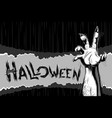 halloween background zombie hand title sigh vector image vector image