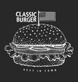 hand drawn burger banner americam hamburger on vector image