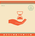 hand holding hourglass vector image vector image