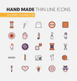 Hand made sewing linear thin line icons set