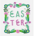 happy easter lettering flowers leaves foliage vector image