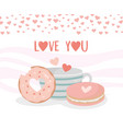 happy valentines day coffee cup cookie and donut vector image vector image