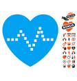heart pulse icon with dating bonus vector image vector image