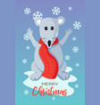 holiday christmas card with cute flat mouse vector image vector image