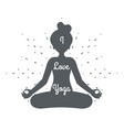 i love yoga meditation cute female girl health vector image