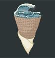 ice cream wave sea vector image