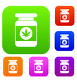 jar of powder marijuana set collection vector image vector image