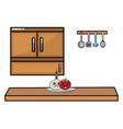 kawaii vegetables in kitchen design vector image vector image