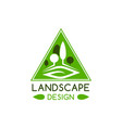 landscape design badge with green tree and leaf vector image vector image