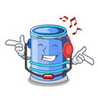listening music cylinder bucket with handle on vector image