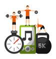 men sporty fitness barbell dumbbell chronomete vector image