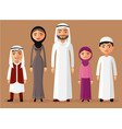muslim family standing cartoon vector image vector image