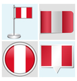 Peru flag - sticker button label flagstaff vector image vector image