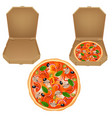 pizza box set vector image vector image