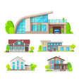 real estate building cottage house villa icons vector image