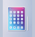 realistic tablet pc mobile application icons vector image vector image