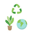 recycling sign a plant and a planet earth vector image