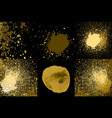 round golden acrylic glittering paint grunge vector image