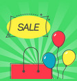sale emblem and bag with balloons vector image vector image