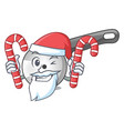 santa with candy pizza cutter knife isolated on vector image vector image
