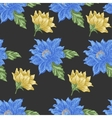 Seamless pattern with blue and yellow flowers on a vector image