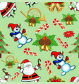 seamless pattern with christmas trees bells vector image vector image