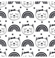 seamless pattern with cute cat and rainbow vector image