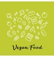 set of the vegan food icons Vegetables and fruits vector image vector image