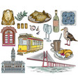 set portugal drawings and landmarks vector image
