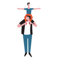 son boy sitting on father shoulders vector image
