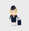 stewardess holding suitcase vector image