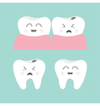 Tooth gum icon set Healthy smiling tooth Crying vector image vector image