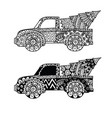 two styles christmas truck for print coloring vector image vector image
