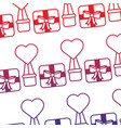 valentines day gift box air balloon heart pattern vector image vector image