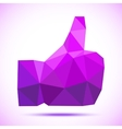 Violet -purple geometric polygonal thumb up icon vector image vector image
