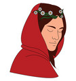 woman with red hood on white background vector image vector image