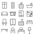 furniture icons set flat on white background vector image