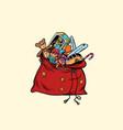 santa sack with christmas gifts and toys