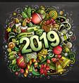 2019 hand drawn doodles chalk board vector image