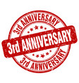 3rd anniversary red grunge stamp vector image vector image