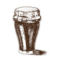 a glass beer with foam bavarian alcoholic vector image