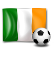 A soccer ball in front of the Ireland flag vector image vector image