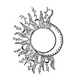 Abstract black isolated sun and moon vector image vector image