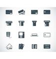 black credit cart icons set vector image vector image