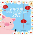 chinese year celebration and pig with flowers vector image vector image