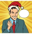 Christmas businessman pointing finger vector image