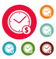 clock money icons circle set vector image vector image