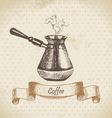 Coffee pot hand drawn vector image vector image