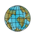 color crayon silhouette front view globe earth vector image vector image